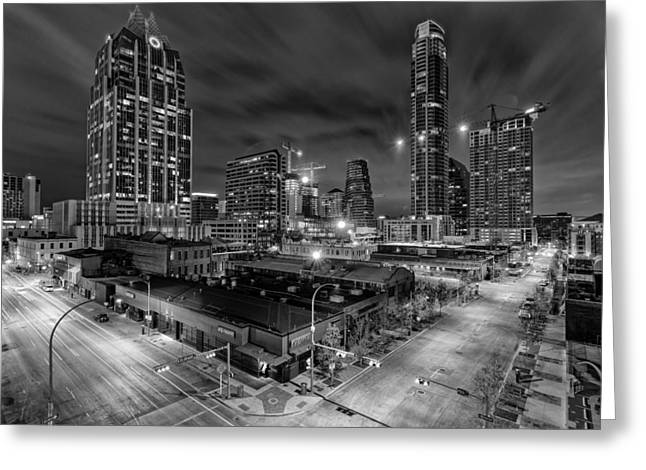 Congress Street Greeting Cards - Austin Texas Skyline Get Out the Crane Construction Time Again Greeting Card by Silvio Ligutti
