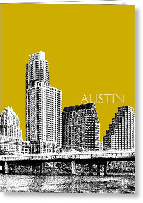 Austin Architecture Greeting Cards - Austin Texas Skyline - Gold Greeting Card by DB Artist