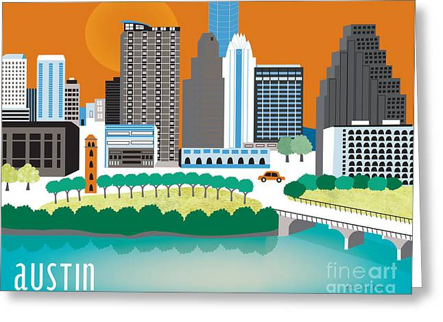City Skylines Greeting Cards Greeting Cards - Austin Texas Skyline Style O-AU Greeting Card by Karen Young