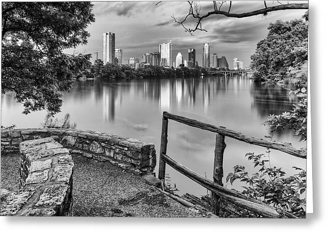 Austin Texas Skyline Lou Neff Point In Black And White Greeting Card by Silvio Ligutti