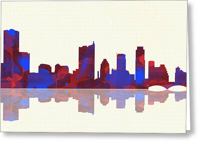 Popular Art Greeting Cards - Austin Texas Skyline Greeting Card by Marlene Watson