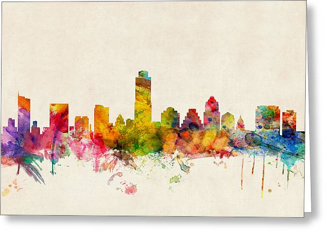 Urban Watercolour Greeting Cards - Austin Texas Skyline Greeting Card by Michael Tompsett