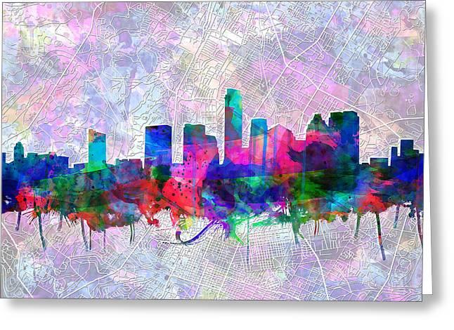 Austin Landmark Greeting Cards - Austin Texas Skyline Watercolor 2 Greeting Card by MB Art factory