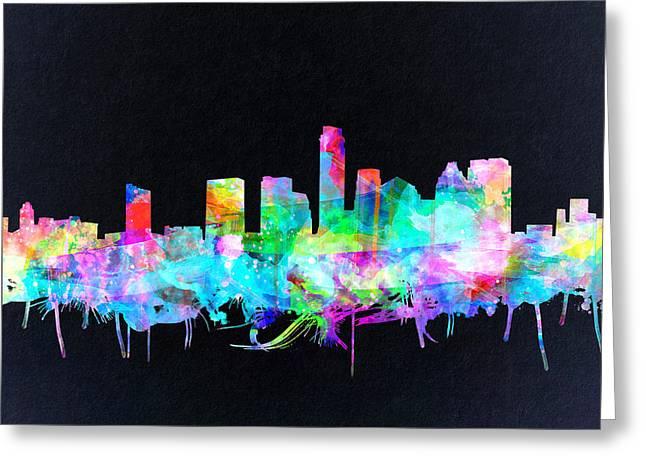 Austin Landmark Greeting Cards - Austin Texas Skyline Watercolor 3 Greeting Card by MB Art factory