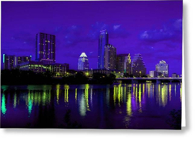 Colorful Photography Mixed Media Greeting Cards - Austin TX Skyline at Night Greeting Card by Dan Haraga