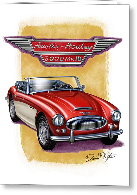 English Car Greeting Cards - Austin3000-red-wht Greeting Card by David Kyte