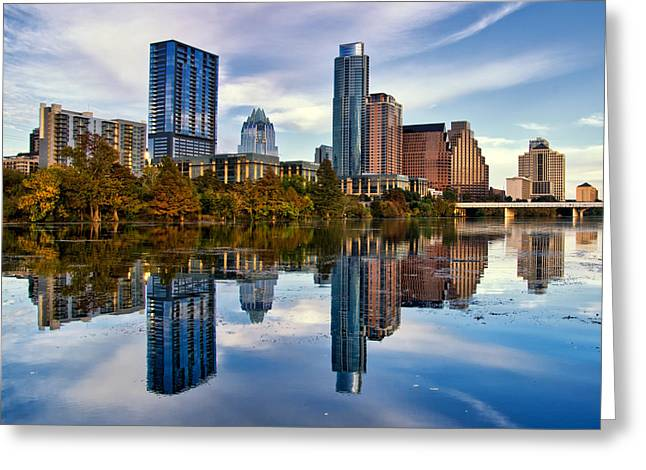 Frost Bank Building Greeting Cards - Austn mirrored in Town Lake Greeting Card by Kayta Kobayashi