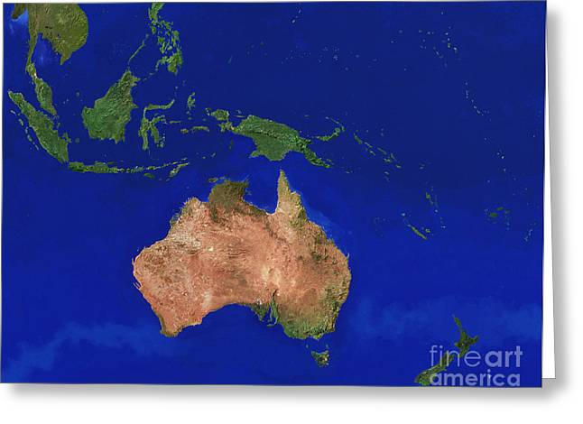 Photos Of Coral Greeting Cards - Australasia Greeting Card by WorldSat International, Jim Knighton
