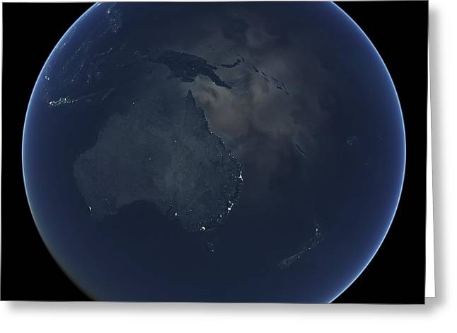 Planet Earth Greeting Cards - Australia and New Zealand at night Greeting Card by Science Photo Library