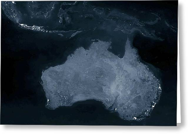 Planet Earth Greeting Cards - Australia at night Greeting Card by Science Photo Library