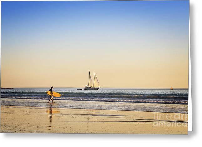 Sailing Ship Greeting Cards - Australia Broome Cable Beach Surfer and Sailing Ship Greeting Card by Colin and Linda McKie