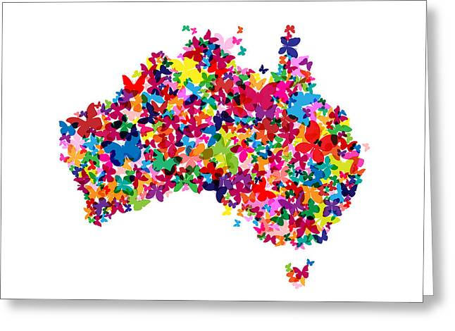 Australia Digital Art Greeting Cards - Australia Butterfly Map Greeting Card by Michael Tompsett
