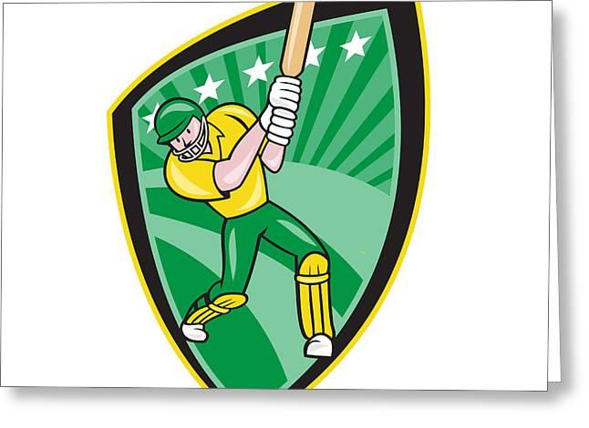Cricket Players Greeting Cards - Australia Cricket Player Batsman Batting Shield Greeting Card by Aloysius Patrimonio