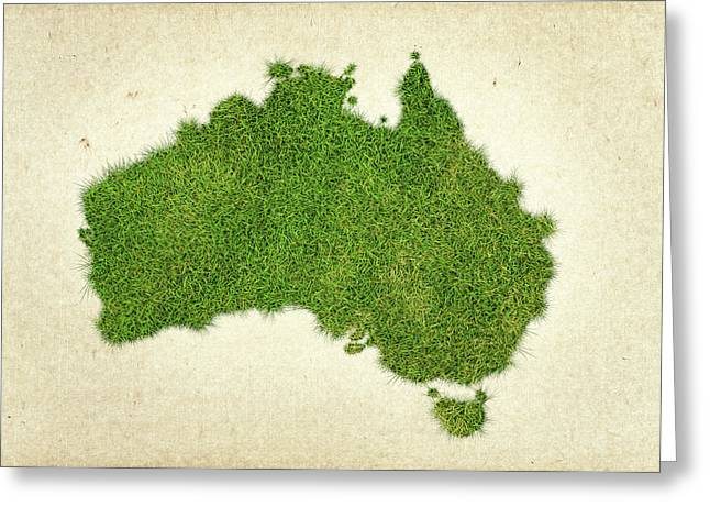 Planet Map Mixed Media Greeting Cards - Australia Grass Map Greeting Card by Aged Pixel