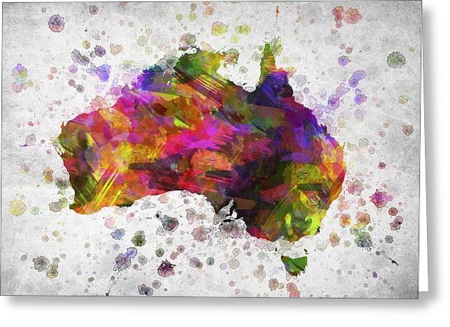 Australia Map Greeting Cards - Australia in Color Greeting Card by Aged Pixel