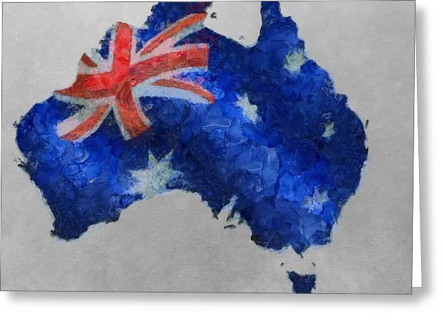 Aborigine Greeting Cards - Australia Map And Flag Greeting Card by Dan Sproul