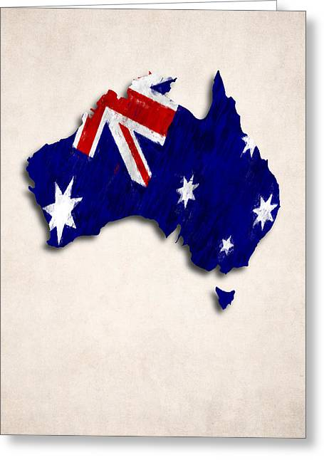 Geographic Digital Art Greeting Cards - Australia Map Art with Flag Design Greeting Card by World Art Prints And Designs