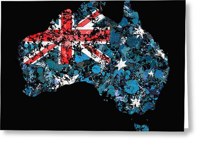 Cartography Greeting Cards - Australia Map Flag Greeting Card by Marion De Lauzun