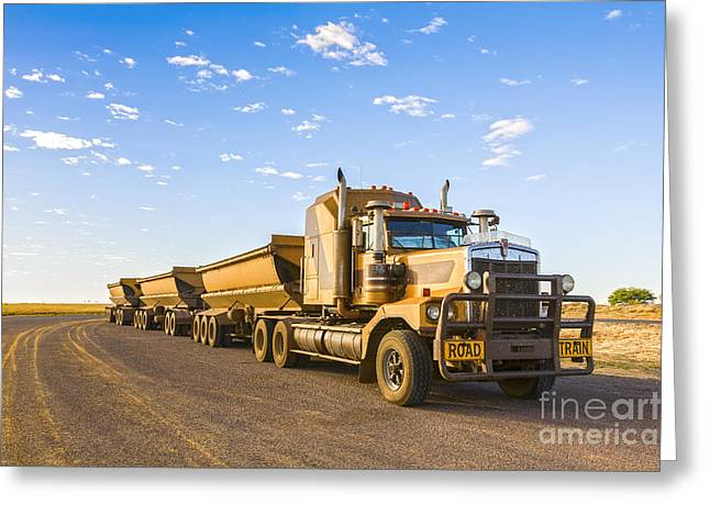 Idling Greeting Cards - Australia Queensland Outback Road Train Greeting Card by Colin and Linda McKie