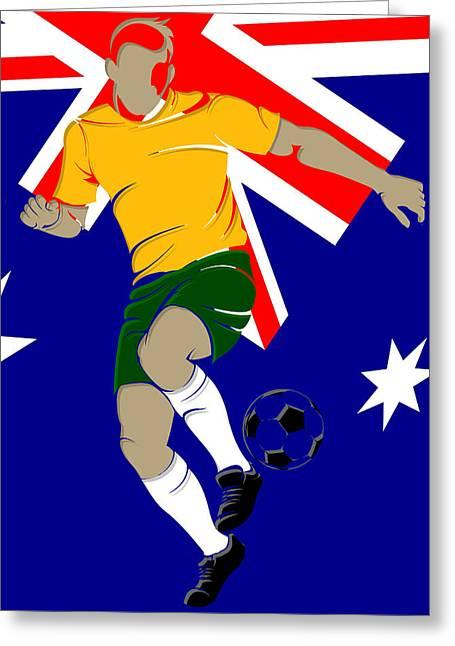 Soccer Net Greeting Cards - Australia Soccer Player1 Greeting Card by Joe Hamilton