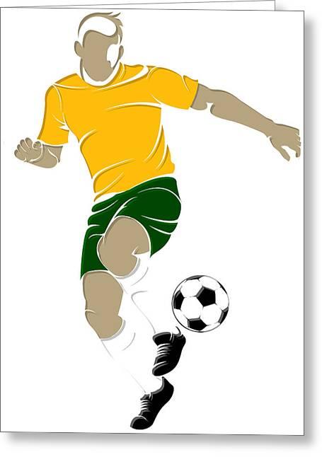 Soccer Net Greeting Cards - Australia Soccer Player2 Greeting Card by Joe Hamilton
