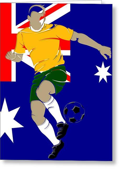 Scores Photographs Greeting Cards - Australia Soccer Player4 Greeting Card by Joe Hamilton