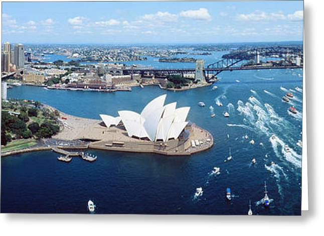 Blue Sailboats Greeting Cards - Australia, Sydney, Aerial Greeting Card by Panoramic Images