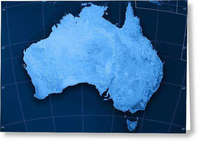 Australia Topographic Map Greeting Card by Frank Ramspott