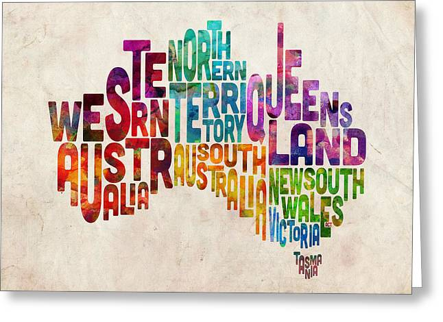 Australia Digital Art Greeting Cards - Australia Typographic Text Map Greeting Card by Michael Tompsett