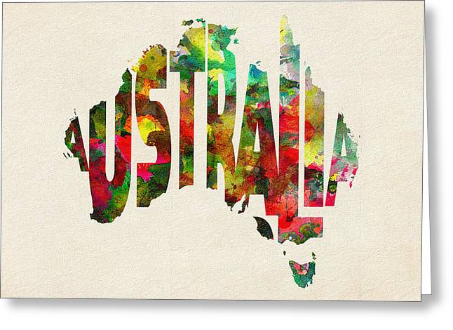 Homeland Greeting Cards - Australia Typographic Watercolor Map Greeting Card by Ayse Deniz