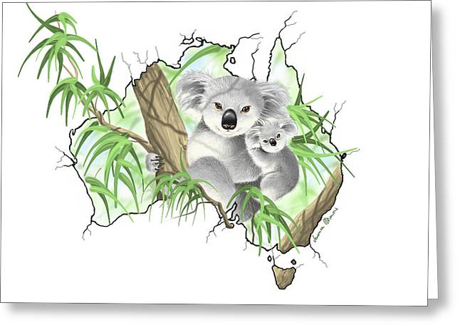 Continent Digital Greeting Cards - Australia Greeting Card by Veronica Minozzi