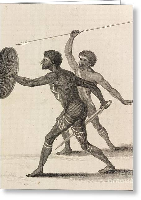 Brandishing Greeting Cards - Australian Aborigines, 18th Century Greeting Card by British Library