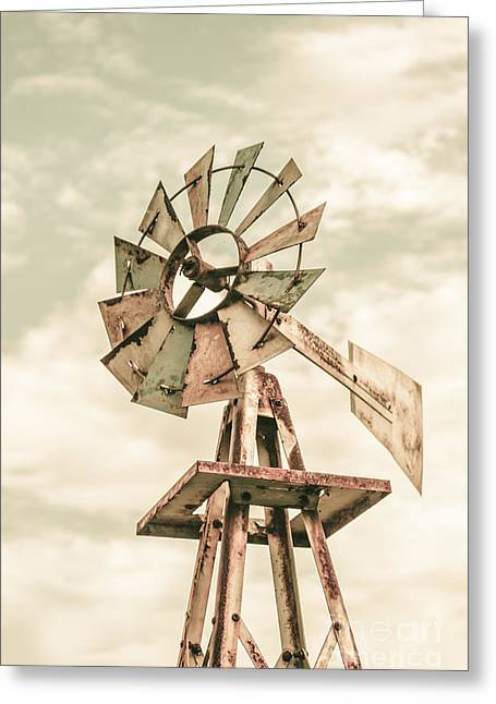 Aermotor Greeting Cards - Australian Aermotor windmill Greeting Card by Ryan Jorgensen