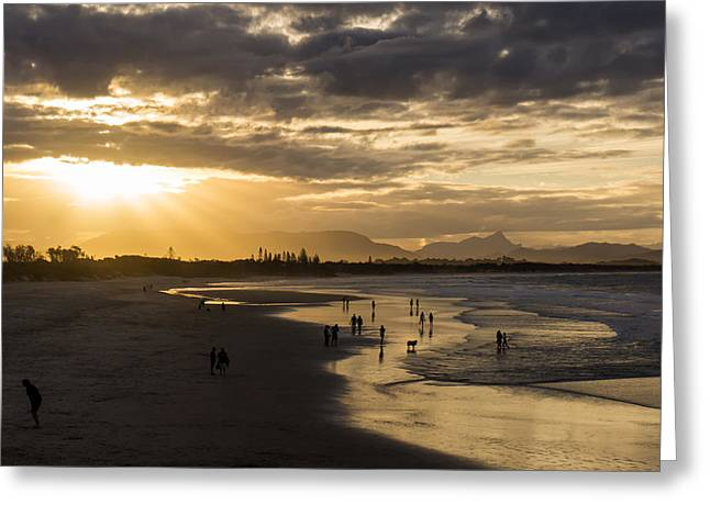 Surf Silhouette Greeting Cards - Australian Beach Sunset Greeting Card by Mountain Dreams
