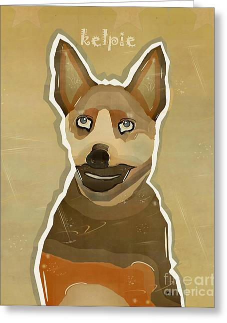 Kelpie Paintings Greeting Cards - Australian kelpie Greeting Card by Bri Buckley
