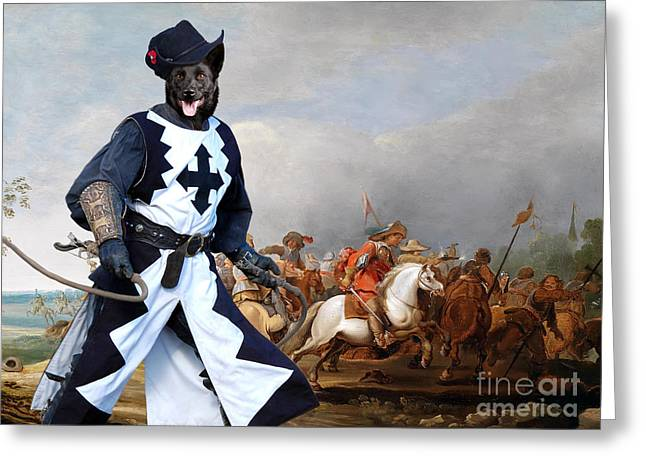 Kelpie Paintings Greeting Cards - Australian Kelpie Canvas Print - A cavalry engagement during the Thirty Years War Greeting Card by Sandra Sij