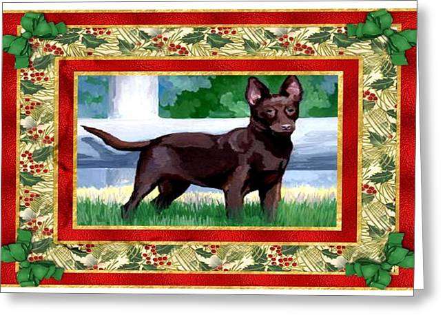 Kelpie Paintings Greeting Cards - Australian Kelpie Dog Christmas Greeting Card by Olde Time  Mercantile