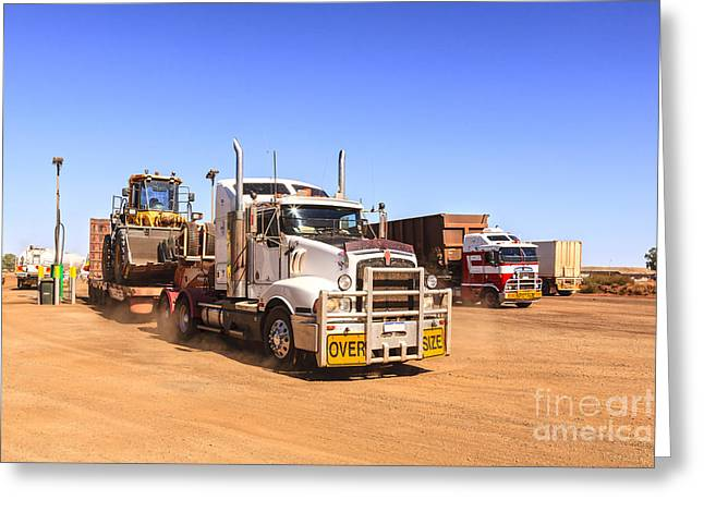 Red Dirt Greeting Cards - Australian Outback Truck Stop Greeting Card by Colin and Linda McKie