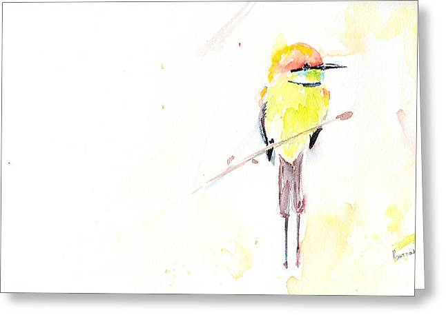 Australian Bees Greeting Cards - Australian Rainbow Bee-eater Greeting Card by Rachel Dutton