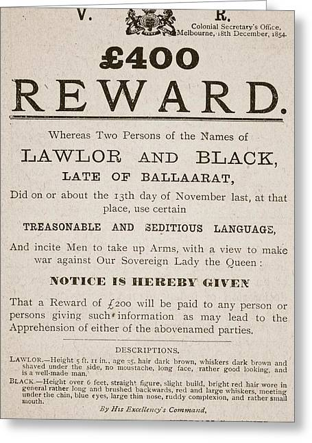 Description Greeting Cards - Australian Reward Poster, 1854 Greeting Card by Australian School