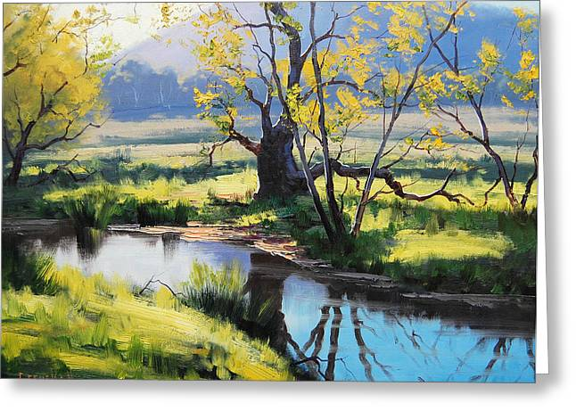 Beautiful Creek Paintings Greeting Cards - Australian River Painting Greeting Card by Graham Gercken