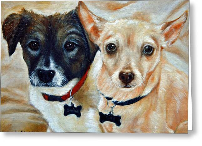 Short Hair Chihuahua Greeting Cards - Australian Shepared and Chihuahua basengi mix  Greeting Card by Sun Sohovich