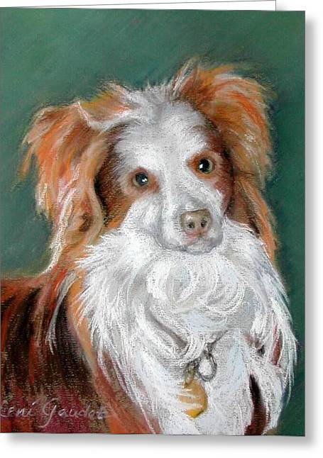 Working Dog Pastels Greeting Cards - Australian Shepherd Perrin Greeting Card by Lenore Gaudet