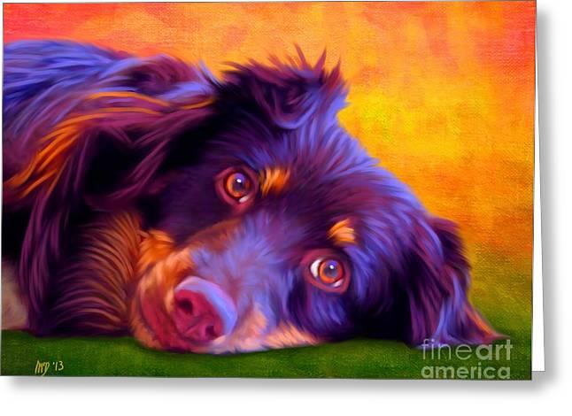 Cute Puppy Pictures Digital Art Greeting Cards - Australian Shepherd Portrait Greeting Card by Iain McDonald