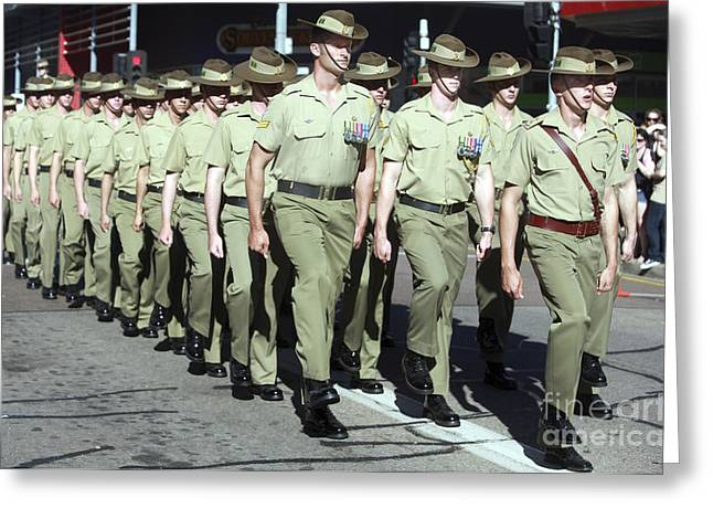 Anzac Greeting Cards - Australian Soldiers March In An Anzac Greeting Card by Stocktrek Images