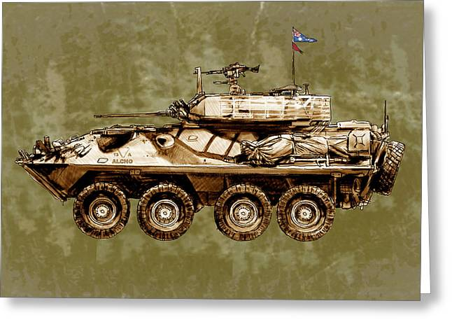 Army Tank Greeting Cards - Australians new army tank - stylised art sketch poster Greeting Card by Kim Wang