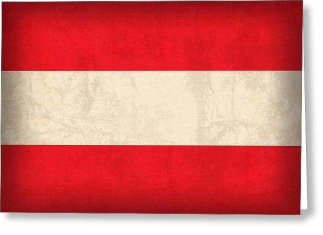 Austria Greeting Cards - Austria Flag Vintage Distressed Finish Greeting Card by Design Turnpike