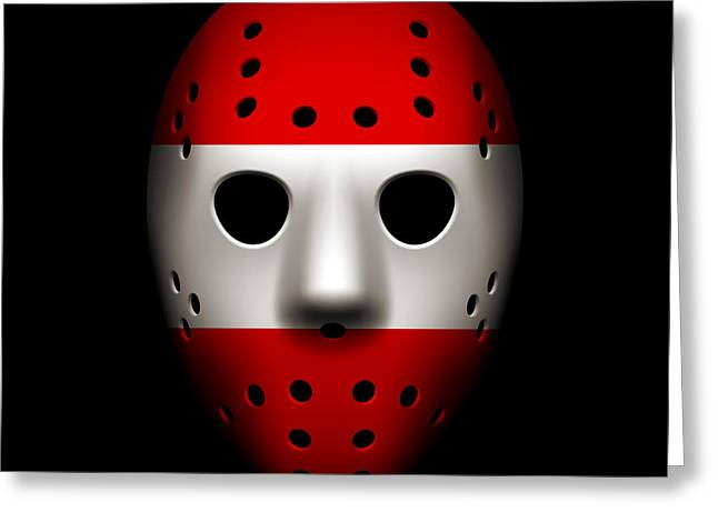 Austria Greeting Cards - Austria Goalie Mask Greeting Card by Joe Hamilton