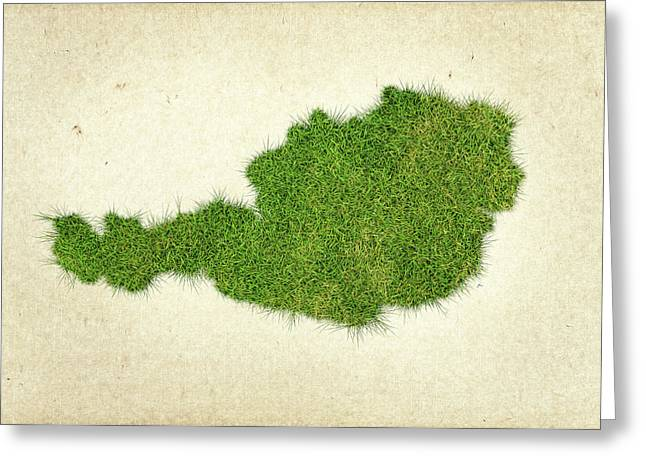Planet Map Mixed Media Greeting Cards - Austria Grass Map Greeting Card by Aged Pixel