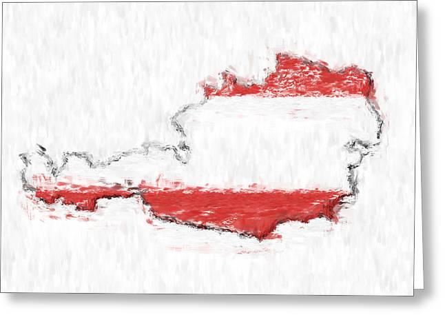 Austria Painted Flag Map Greeting Card by Antony McAulay